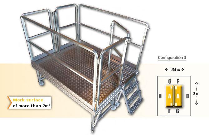 Rolling modular platform - configuration 3